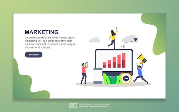 マーケティングのランディングページテンプレート。 webサイトおよびモバイルwebサイトのwebページデザインのモダンなフラットデザインコンセプト Premiumベクター
