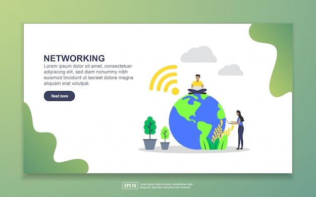 ネットワークのランディングページテンプレート。 webサイトおよびモバイルwebサイトのwebページデザインのモダンなフラットデザインコンセプト Premiumベクター