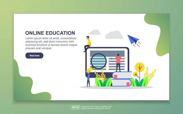 オンライン教育のランディングページテンプレート。 webサイトおよびモバイルwebサイトのwebページデザインのモダンなフラットデザインコンセプト Premiumベクター