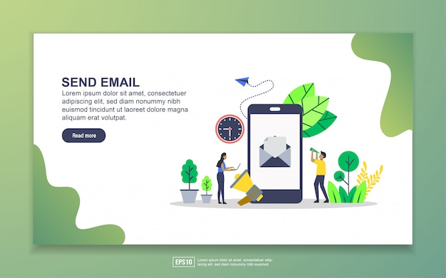 メール送信のランディングページテンプレート。 webサイトおよびモバイルwebサイトのwebページデザインのモダンなフラットデザインコンセプト Premiumベクター