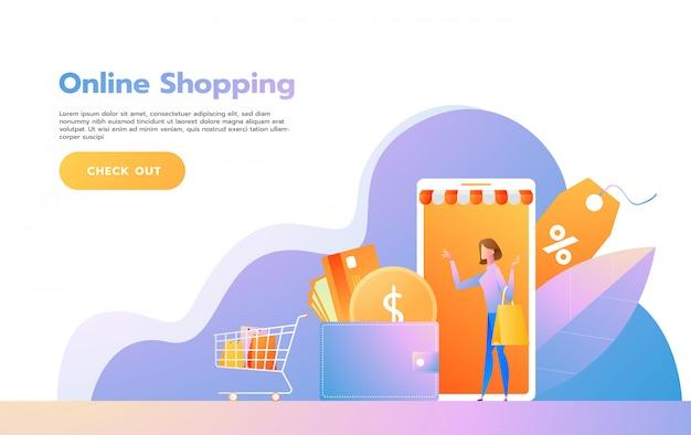 オンラインショッピングのランディングページテンプレート。 webサイトおよび携帯サイトのwebページデザインのモダンなフラットデザインのコンセプト。ベクトルイラスト Premiumベクター