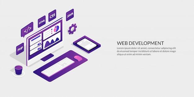 Web開発&ユーザーインターフェイスデザインコンセプト、等尺性webサイト開発ツール Premiumベクター