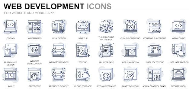 Webサイトとモバイルアプリのシンプルなwebデザインと開発ラインアイコンの設定 Premiumベクター