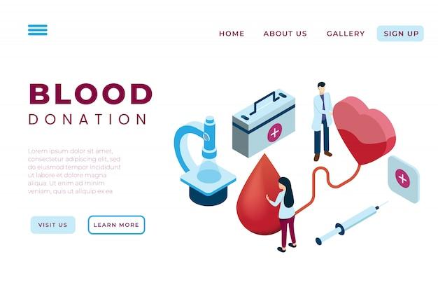 輸血イラスト、等尺性ランディングページおよびwebヘッダーの概念と慈善団体の献血イラスト Premiumベクター