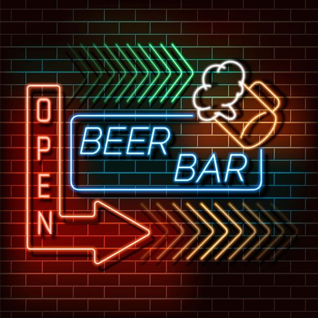 レンガの壁にビールバーネオンライトバナー。青とオレンジのサイン。 webデザインのための装飾的な現実的なレトロな要素ベクトルイラスト。 Premiumベクター