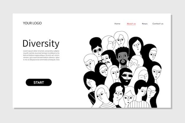 会社の人チームの多様性を示す人々。ランディングページwebテンプレート Premiumベクター
