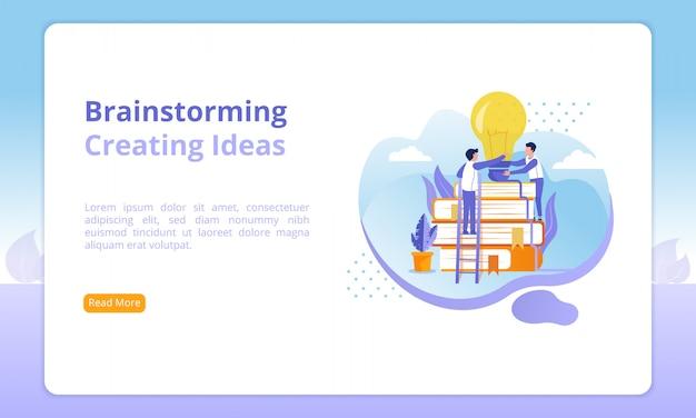 ブレーンストーミングまたはアイデアwebサイトの作成 Premiumベクター