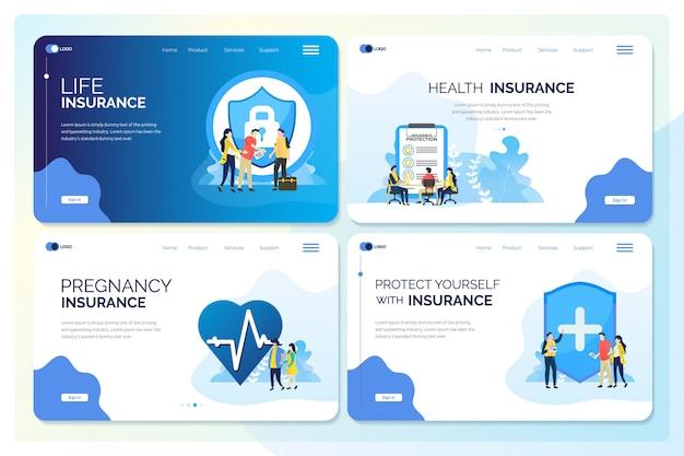 保険のイラストのコレクションwebまたはデジタルテンプレートのセット Premiumベクター