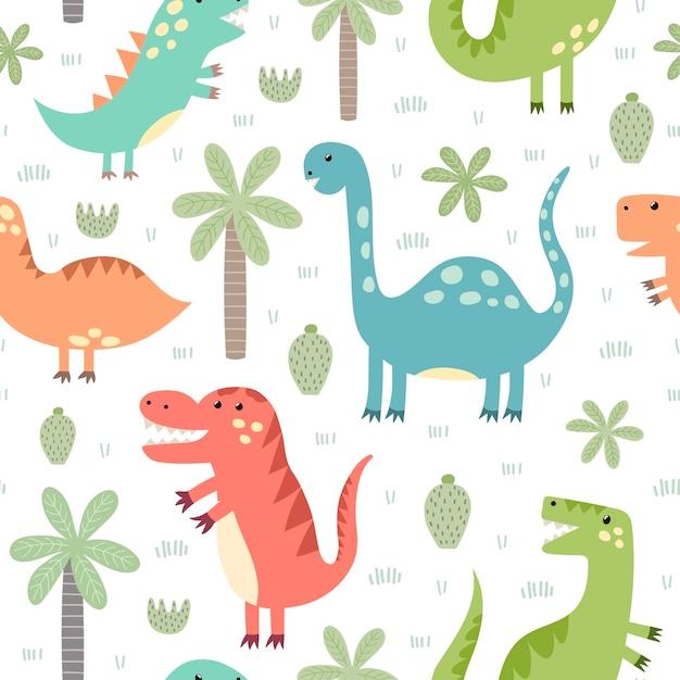 かわいい恐竜のシームレスパターン。生地や織物、壁紙、webページの背景、カードやバナーのデザインに最適な幼稚なスタイルで Premiumベクター