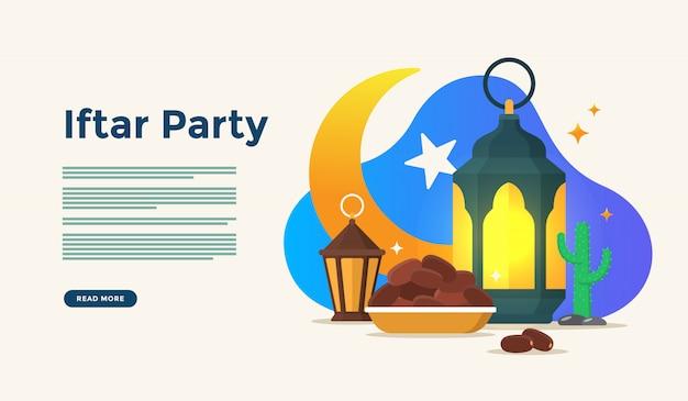 空腹祭りパーティーの後に一緒に食べること。ラマダンカリームのイスラム教徒の家族の夕食またはwebランディングページテンプレートの人々のキャラクターのコンセプトを祝うイード Premiumベクター