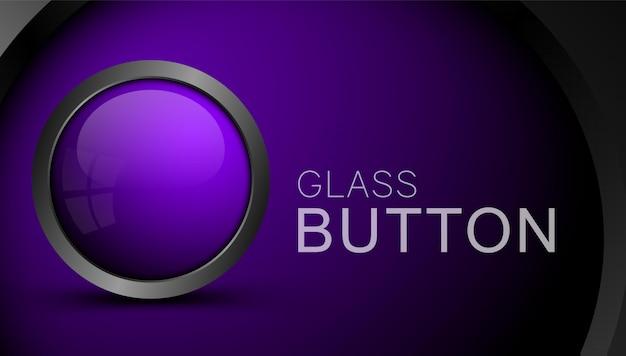 Webのガラス紫空白ボタン。アプリとゲームのインターフェースのボタン。 Premiumベクター