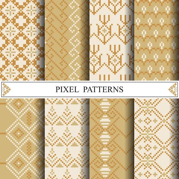 布地の織物やwebページの背景を作るためのタイのピクセルパターン。 Premiumベクター