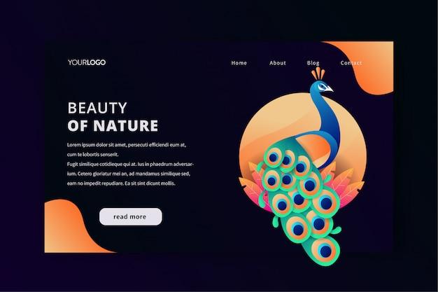 自然孔雀の美しさとランディングページwebテンプレート Premiumベクター
