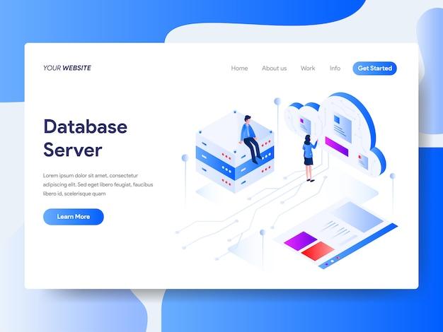 Webサイトページのデータベースサーバ等尺性 Premiumベクター