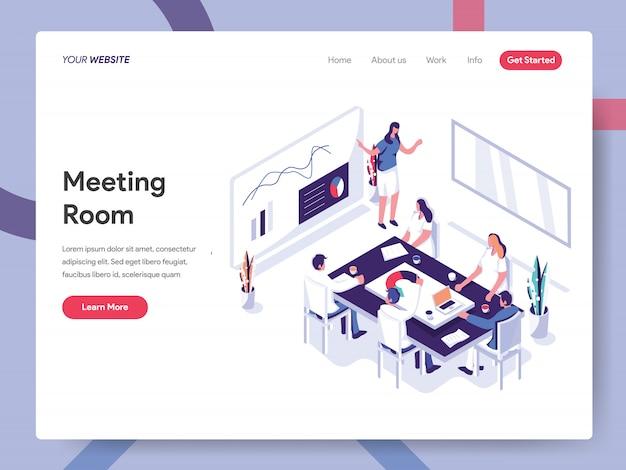 Webサイトページの会議室のバナー Premiumベクター