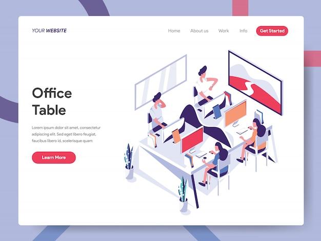 Webサイトページのオフィステーブルバナー Premiumベクター
