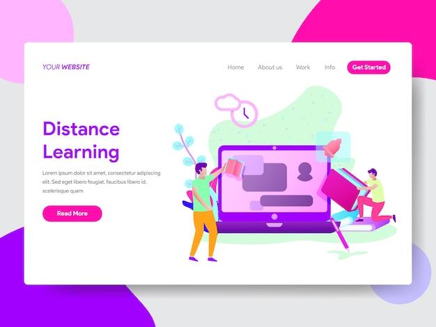 Webページのための学生の遠隔学習イラスト Premiumベクター