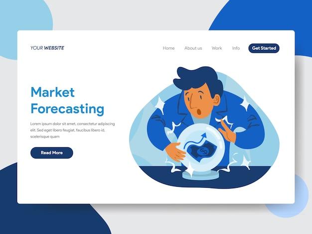 Webページのための水晶玉のイラストと市場予測 Premiumベクター
