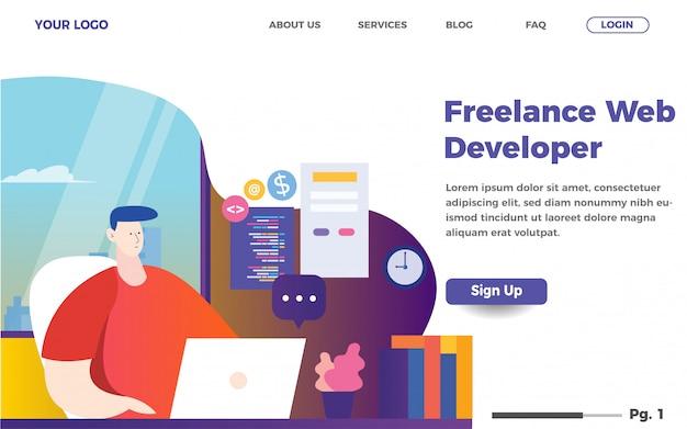 フリーランスのweb開発者ランディングページテンプレート。男性コーディングウェブサイトイラスト Premiumベクター