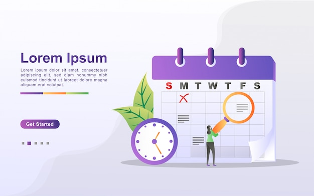 スケジュールと計画の概念、個人学習計画の作成、営業時間の計画、イベントとニュース、リマインダーとスケジュール。 webランディングページ、バナー、モバイルアプリに使用できます。フラットなデザインのベクトル Premiumベクター