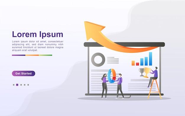 チームワークの概念。チームは協力してビジネスを成長させます。収入を増やす方法を探してください。強固なチームを構築します。 webランディングページ、バナー、チラシ、モバイルアプリに使用できます。 Premiumベクター