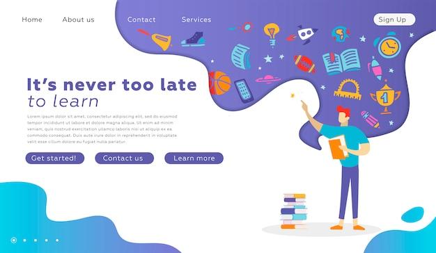 本のランディングページと幸せな学生キャラクター。ウェブサイトのための教育卒業の概念。ベクトルフラット漫画イラスト。学校のwebデザインに戻る本を読んでいる人。思考で学用品 Premiumベクター