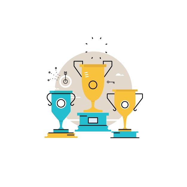競争のチャンピオン、報酬、ゴブレット受賞者、勝者カップ、ビジネス成功、リーダーシップコンセプトフラットベクトルイラストデザインモバイルとwebグラフィックス Premiumベクター