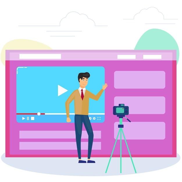 インターネットでそれを共有するためにビデオを録画するカメラの前の男。ビデオブログ、webテレビ、または埋め込みビデオの概念。 Premiumベクター