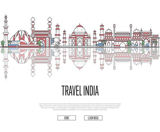 直線的なスタイルのインドwebテンプレートへの旅行ツアー Premiumベクター