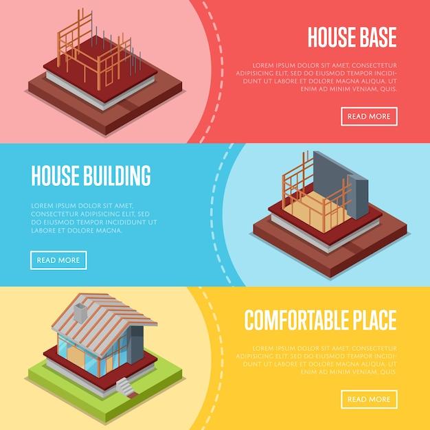 快適な住宅建設バナーwebセット Premiumベクター