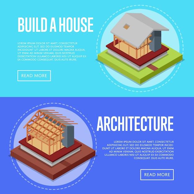 田舎の家建築バナーwebセット Premiumベクター