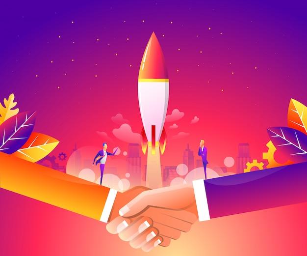 Webページ、バナー、プレゼンテーション、ソーシャルメディアのビジネス立ち上げコンセプト。 Premiumベクター
