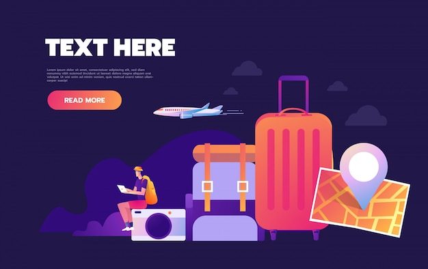 世界旅行、世界旅行の概念、世界旅行の概念、インフォグラフィックの概念の着陸webページ、 Premiumベクター