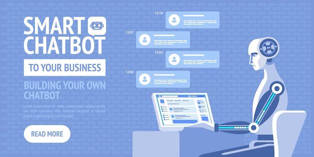 あなたのビジネスへのスマートチャットボット。ビジネス、サイト、バナー、web、パンフレットカードのベクトルポスター Premiumベクター