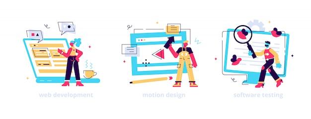 ウェブサイトのプログラミングとコーディング。コンピューターアニメーションデザイナー。バグ修正。 web開発、モーショングラフィックデザイン、ソフトウェアテストのメタファー。 Premiumベクター