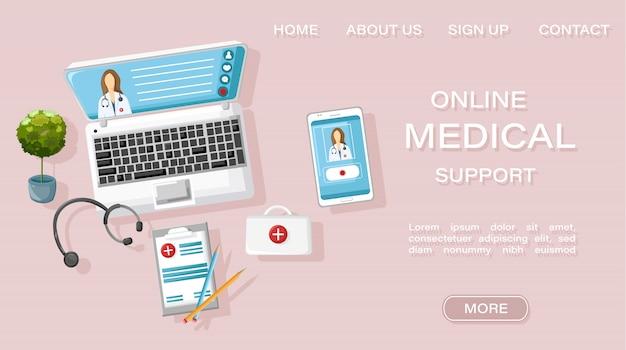 リンク先ページのwebテンプレート。オンライン医師治療サイトコンセプト Premiumベクター