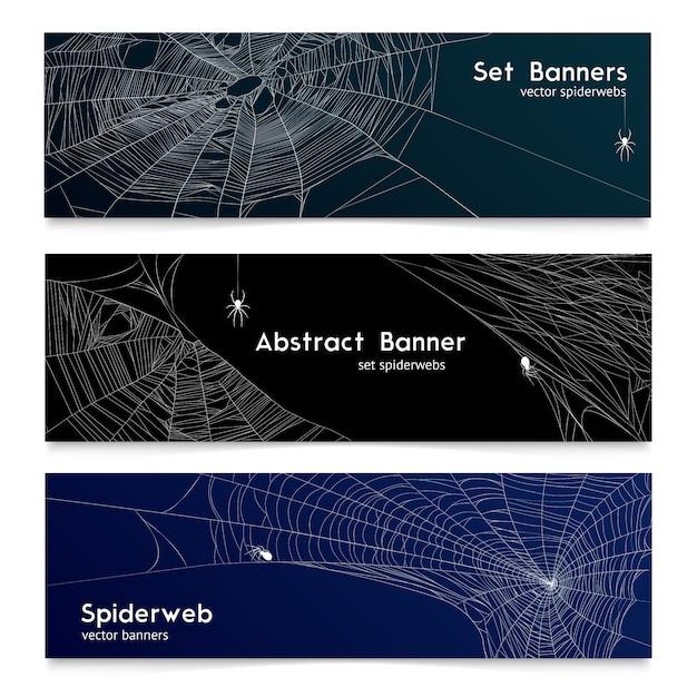 現実的なスパイダーwebクモの巣バナー 無料ベクター