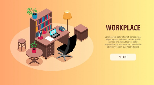 ホームオフィス研究職場インテリア組織アイデア等尺性水平webバナーデスク本棚照明 無料ベクター