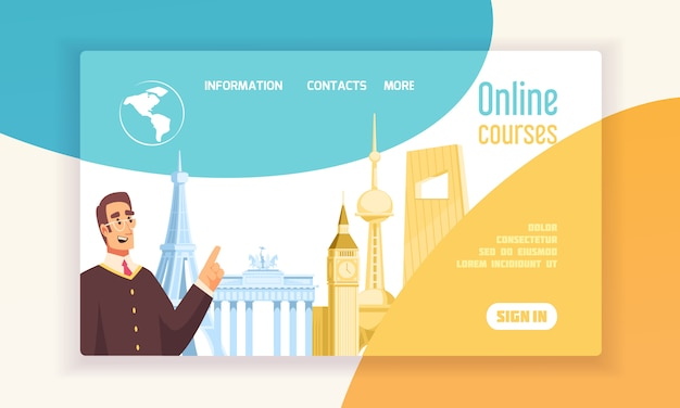 ランゲージセンターオンラインコース情報フラットwebコンセプトバナービッグベンエッフェル塔のシンボル 無料ベクター