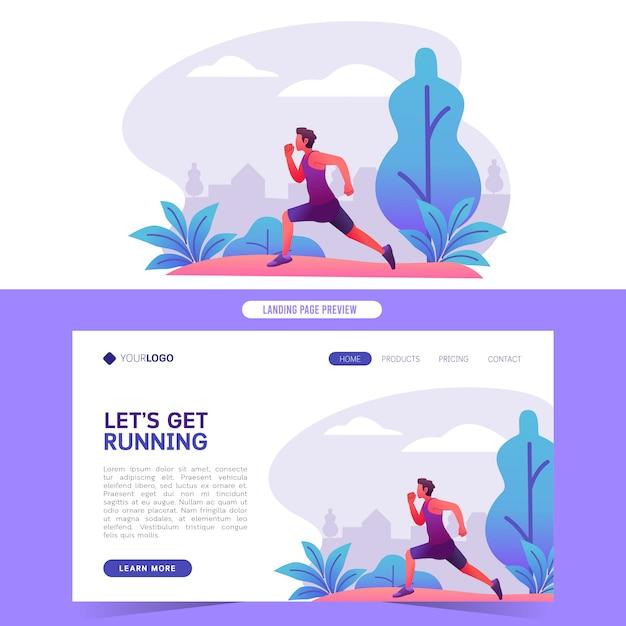 Webサイトのホームランディングページとバナーの公園ベクトル図で健康的な運動マラソンスプリントを実行しているジョギング男 Premiumベクター