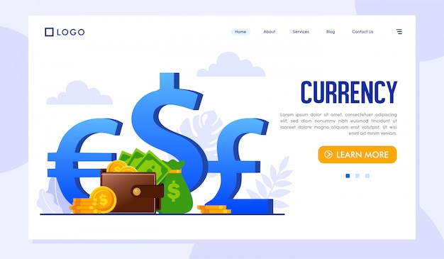 通貨のランディングページwebサイトテンプレート Premiumベクター