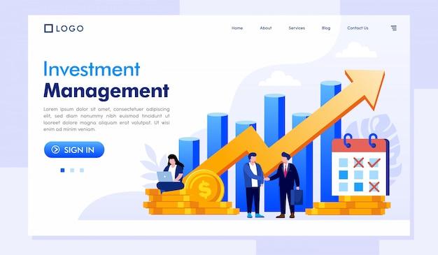 投資管理のランディングページwebサイトテンプレート Premiumベクター