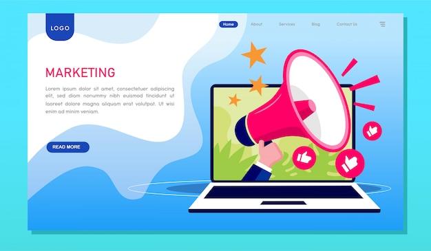 マーケティング戦略のデジタルwebサイトのランディングページ Premiumベクター