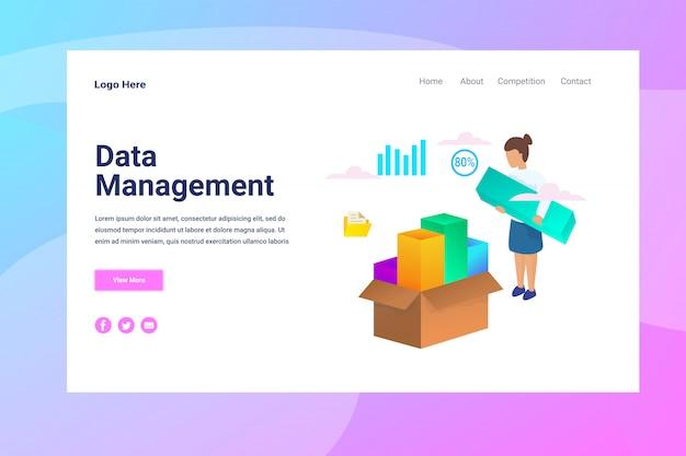 Webページヘッダーデータ管理図コンセプトランディングページ Premiumベクター