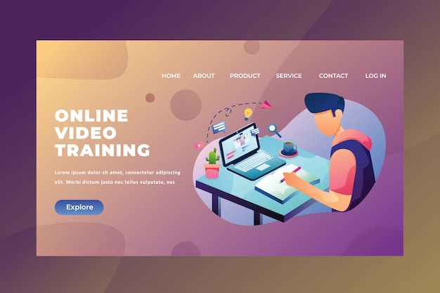 Webページヘッダーランディングページのオンラインビデオトレーニングを使用して宿題を座って作業する学生 Premiumベクター