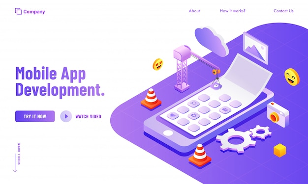 モバイルアプリ開発webサイトのポスターまたはランディングページのデザインのためのソーシャルメディアと分析ツールの管理。 Premiumベクター