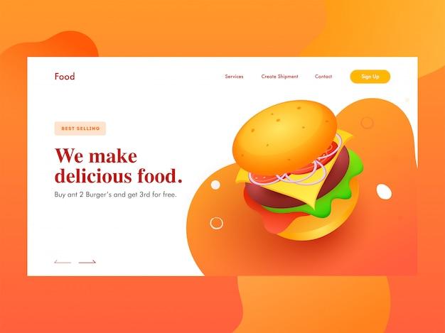 おいしいハンバーガーを提示するレスポンシブwebバナーまたはランディングページ Premiumベクター