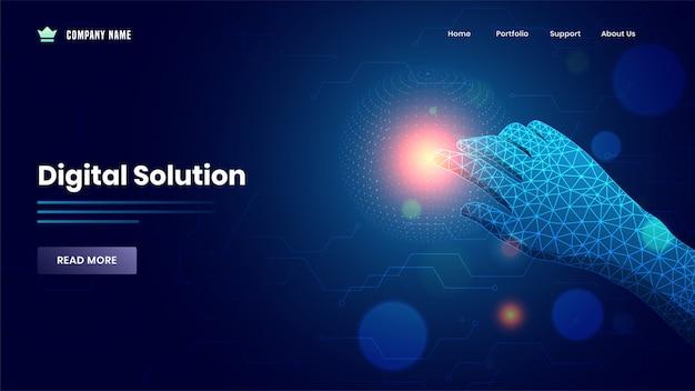 Webバナーまたはランディングページが手でデジタルソリューションの青いメッシュネットワーク上の仮想ディスプレイに触れています。 Premiumベクター