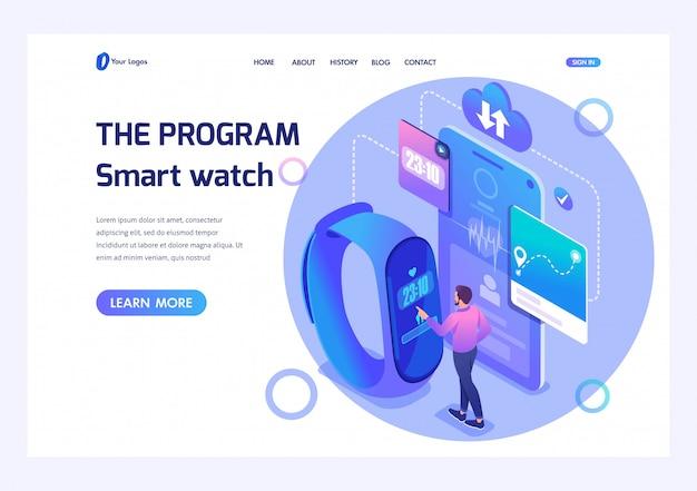 等尺性男性はフィットネスブレスレットを使用して、スマートな時計プログラムを調整します。 webサイトのテンプレートランディングページ Premiumベクター