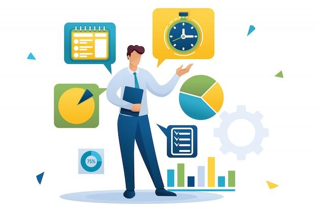 青年実業家は、時間管理に従事しています。タスクの配布。フラットなキャラクター。 webデザインのコンセプト Premiumベクター